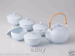 Premium Hasami Porcelain KORIN Kyusu tea pot & 5 Yunomi tea cups Set w Box