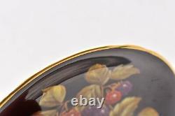 RARE Aynsley Black Fruit Orchard Gold Tea Cup & Saucer SET