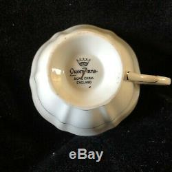 RARE Queen Anne Cup/Saucer Red & White Rose/Blue Daiseys set to a lovely Gold