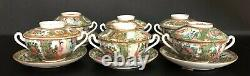 RARE Set of 6 Rose Medallion Double Handle Tea Cups with Lids & Saucers 19th C