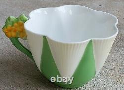 RARE Shelley England Dainty Shape Harlequin Flower Handle Teacup and Saucer Set