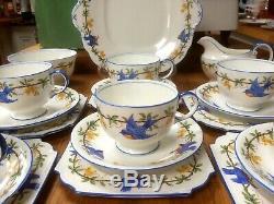 RARE VINTAGE AYNSLEY BLUE BIRD 21 Piece Tea Set Cups Trios Milk Sugar Plate