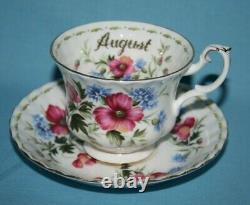 ROYAL ALBERT FLOWER OF THE MONTH FULL SET OF TEA CUPS & SAUCERS 1st GRADE