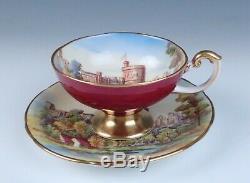 Rare Aynsley Windsor Castle Pedestal Tea Cup & Decorated Saucer Set England