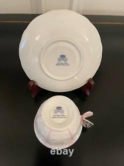 Rare Deco Aynsley Pink Butterfly Handle Tea Cup & Saucer Set