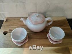Rare LE CREUSET Flower Teapot w filter Tea Cup Saucer set Powder Pink 22 oz NiB