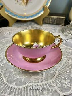 Rare Mint Paragon Rose Cabbage Gold Pink Tea Cup Saucer Set Duo Double Warrant