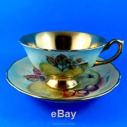 Rare Painted Fruit & Gold Signed D. Millington Hammersley Tea Cup and Saucer Set