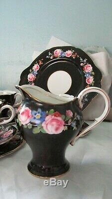 Rare, Paragon Black Rose Tea set. BEAUTIFUL. Cabinet Cups 21 Pieces