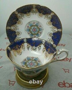 Rare Paragon Cobalt Blues Floral Fan Pastels Gold Teacup and Saucer Set Vintage