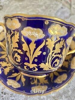 Rare ROYAL DOULTON COBALT & GOLD ENCRUSTED SOUP Tea Cup Saucer SET HP 2449