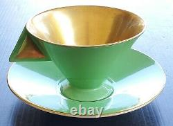 Rare Shelley China Art Deco Vogue Green Gold Teacup And Saucer Set