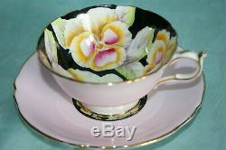 Rare Vint Paragon bone china tea cup saucer set- Pink withYellow Pansies on Black