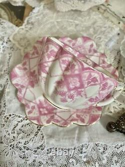 Rare Wileman Foley Shelley Pink Scallop Tea Cup Saucer Set Daisy 5172 Berry
