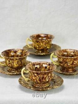 Rare set of four antique French cups and saucers from Apt nougatine