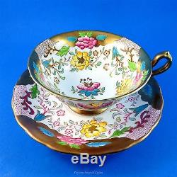 Rich Gold & Painted Pink & Yellow Florals Royal Chelsea Tea Cup and Saucer Set