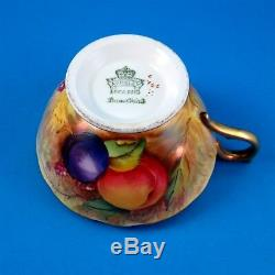 Rich Gold Signed N. Brunt Fruit Painted Aynsley Tea Cup and Saucer Set