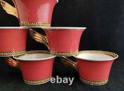 Rosenthal Versace Medusa red Set of 6 Tea Cups & Saucers (D0254)
