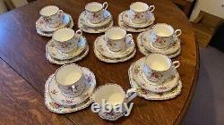 Royal Albert Bone China Vintage Petit Point 8 Person Tea Set Plates Cups