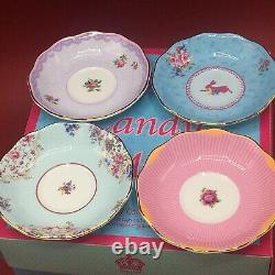 Royal Albert Candy Collection Set Of Four Tea Cups & Saucers Honey Bunny Etc