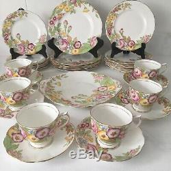 Royal Albert England Bouquet Dessert Set For 6 with Plates Tea Cups Cake Platter