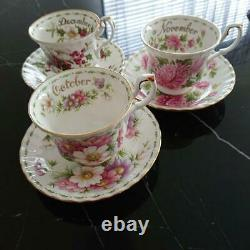 Royal Albert Flower of the Month January-December teacup saucer 12 set rare