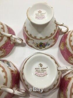 Royal Albert Lady Carlyle bone china tea cups & saucers, set of 6