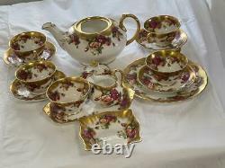 Royal Chelsea Golden Rose Tea set Teapot Salad Plates cup Saucer Fine Bone China
