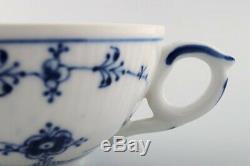 Royal Copenhagen Blue Fluted plain tea cup with saucer # 1/76. 2 sets