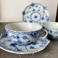 Royal Copenhagen Tea Cup & Saucer Set Blue Fluted Full Lace Used Japan WithT Good