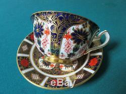 Royal Crown Derby Imari Teacup and Saucer, Cobalt and Orange Antique Tea Cup Set