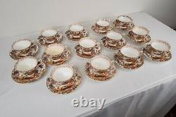 Royal Crown Derby Olde Avesbury Tea Cup & Saucers READ Set of 14 FREE USA SHIP