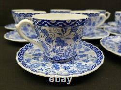 Royal Crown Derby Tea Cup & Saucer Set Wilmot Blue (19) 1954 Bone China England