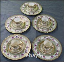 Royal Doulton 15 Pc Tea Set Demitasse Cup Saucer Plate Exotic Birds Gold Beads