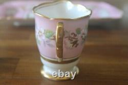 Royal Stafford Pink Garland Open Sugar Bowl cup Creamer Tray for tea set Gold