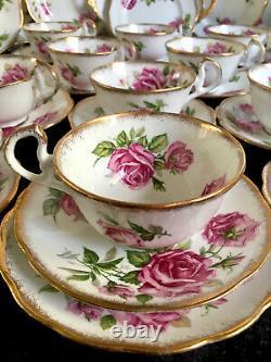Royal Standard Orleans Rose Pink Cabbage Roses Tea Set Tea Cups Set 34 Items