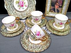 Royal Standard tea cup and saucer trio cake plate set pink rose gold gilt teacup