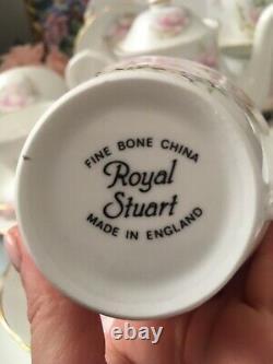 Royal Stuart Bone China Pink Water Lily Tea Set Tea Cups Tea Pot Trios 19 Item