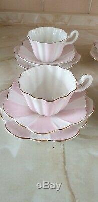 Royal Stuart Spencer Stevenson Stripe Pink Candy Teacup Trio Set Of 6 Trios