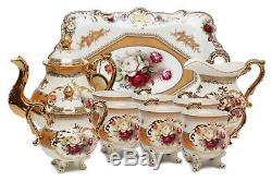 Royalty Porcelain 10-pc Vintage Rose Decor Dining Tea Cup Set for 6, 24K Gold