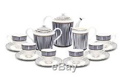 Royalty Porcelain 15-pc Vintage Dining Tea Cup Set, Russian Cobalt Blue, 24K