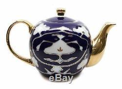 Royalty Porcelain 7-pc Mini Tea Cup Set for 6, Vintage Cobalt Blue Russian