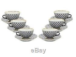 Russian Cobalt Blue Net 12-pc Tea Cup Set St Petersburg 24K Gold Bone China
