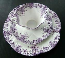 SHELLEY Dainty Mauve Teacup Saucer Plate Trio Set Bone China England
