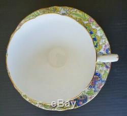 SHELLEY Paisley Baileys RARE PALE Teacup & Saucer Set Vintage Antique Chintz