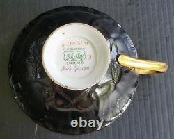 SHELLEY Rock Garden Oleander Black 3-PC TRIO Set Teacup, Saucer, and Salad Plate