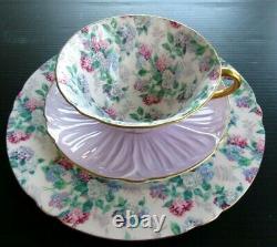 SHELLEY Summer Glory Chintz Lavender Oleander Teacup Saucer Plate Trio Set
