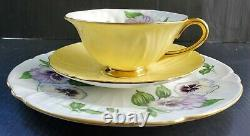 SHELLEY Vintage Teacup, Saucer & Under Plate PANSY Oleander Yellow 3-PC TRIO Set