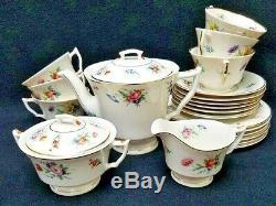 SYRACUSE china SELMA 23 piece Tea SET Teapot Creamer Sugar Bowl Cup Saucer Bread