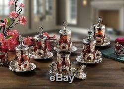 Seljuk tea Set Turkish Quality Tea Serving Set Cups Coated Handmade